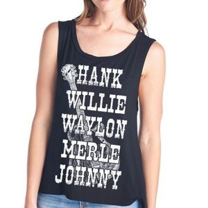 Tops - Country Music Outlaws Tank in Coral